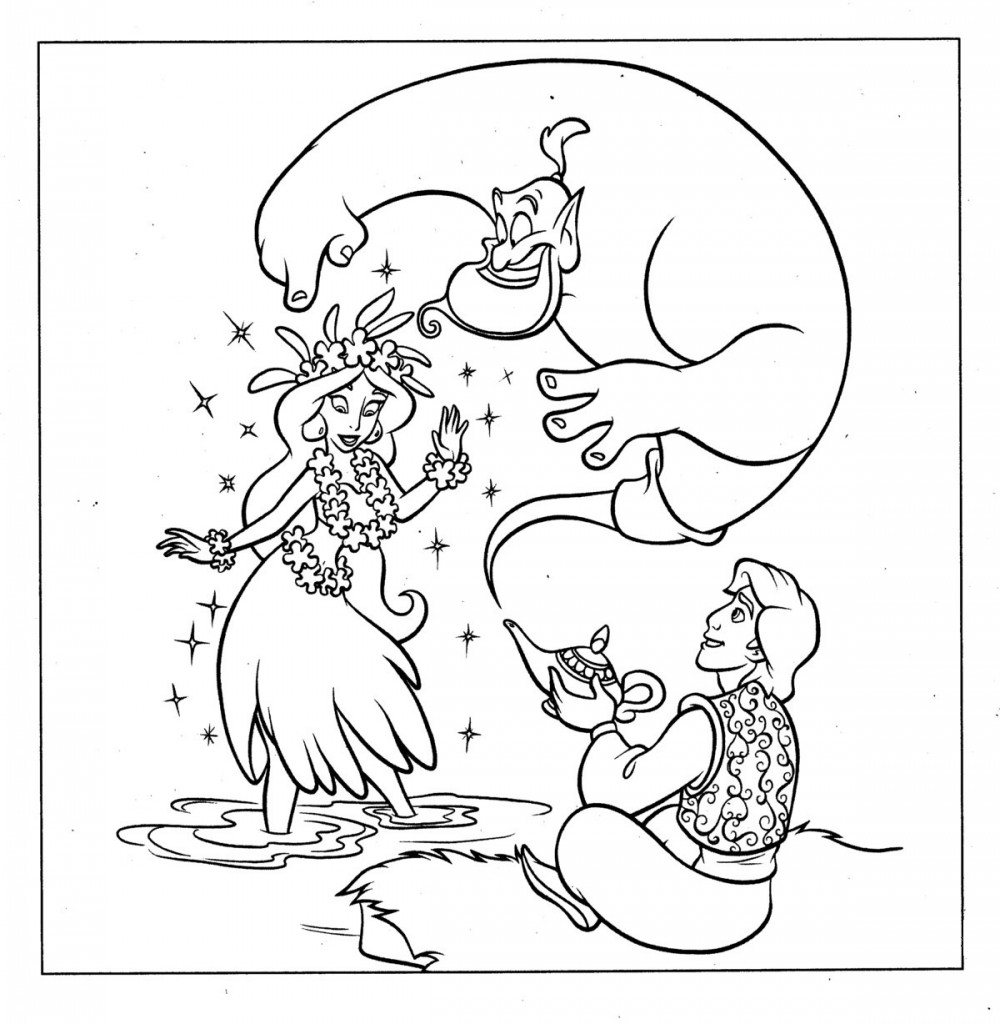 Aladdin Colouring Pages Free