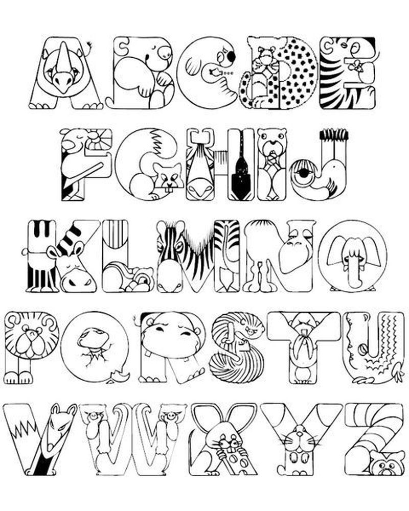 Alphabet Coloring Pages With Animals