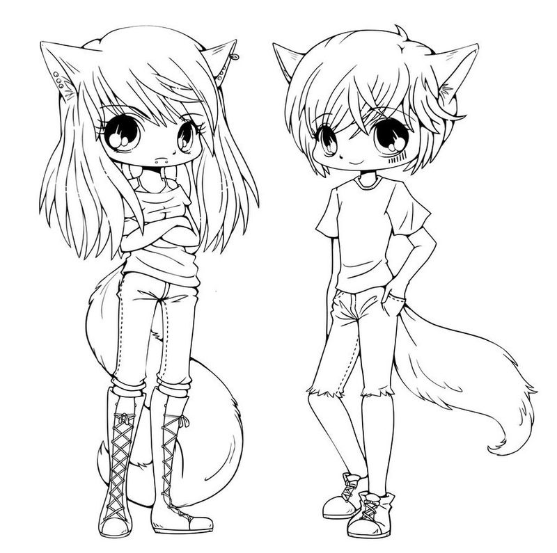 Anime Coloring Pages Chibi Boy And Girl
