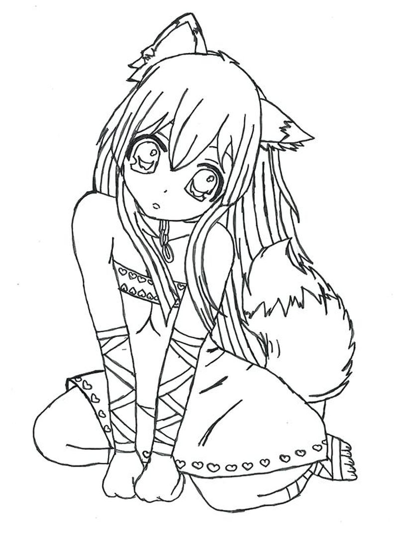Anime Coloring Pages Cute Girl