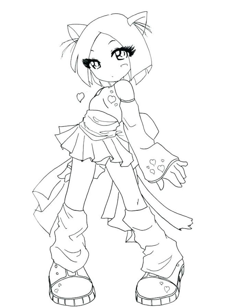 Anime Coloring Pages Girl Blank