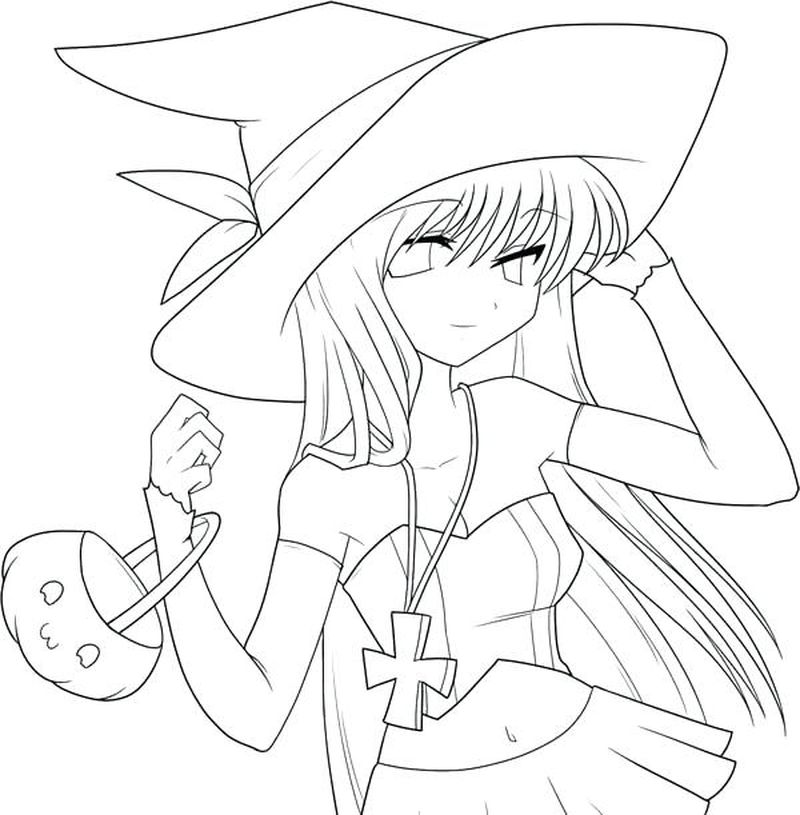 Anime Girl Brown Hair Coloring Pages