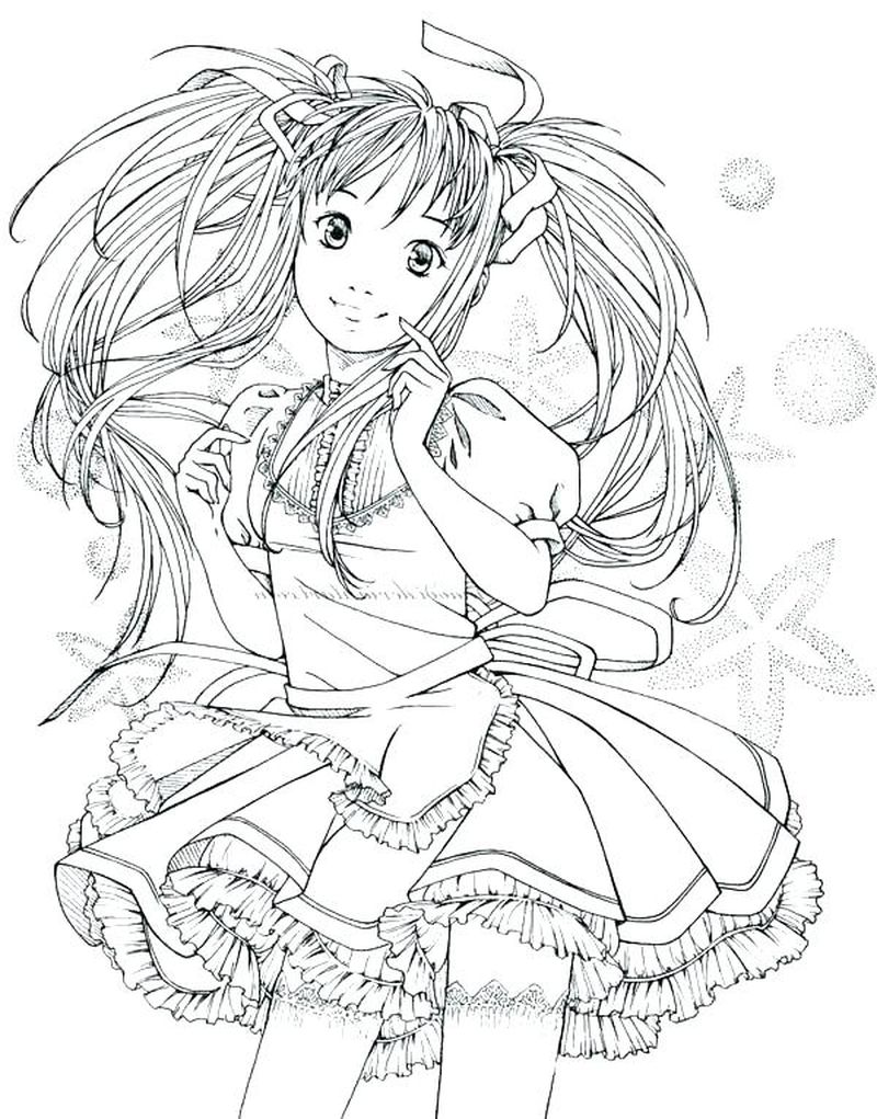 Anime Girl Holding Pet Coloring Pages