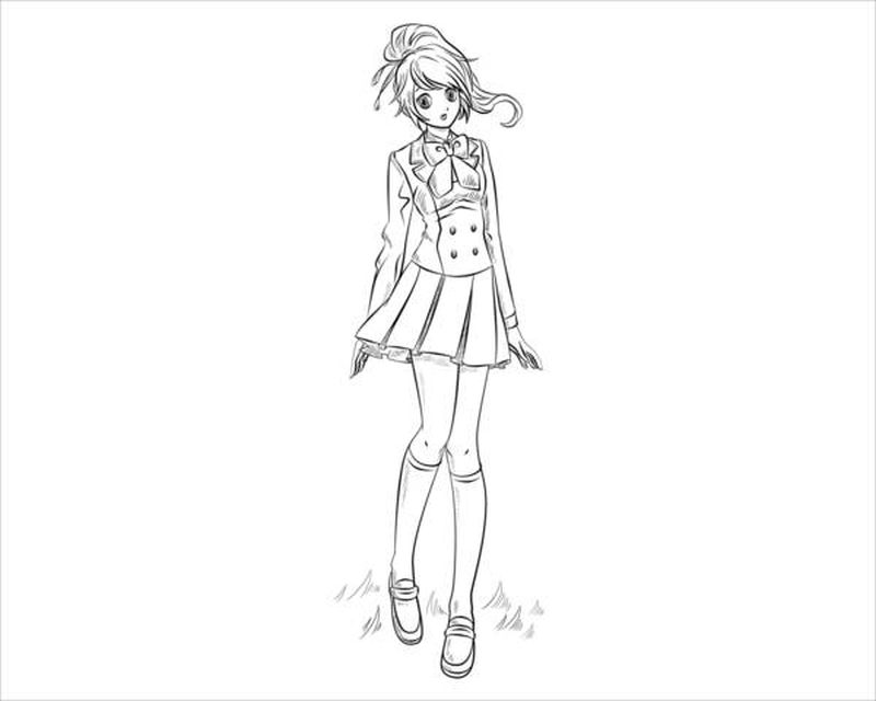 Anime People Coloring Pages Girl Empty Body