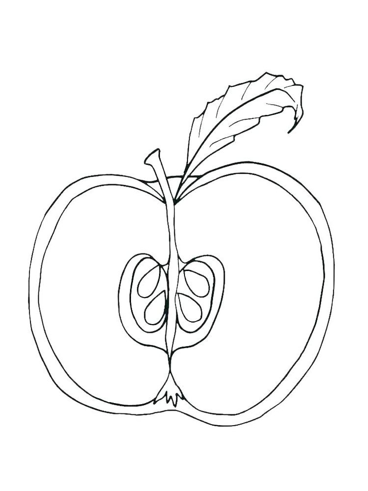 Apple Coloring Book Page Free