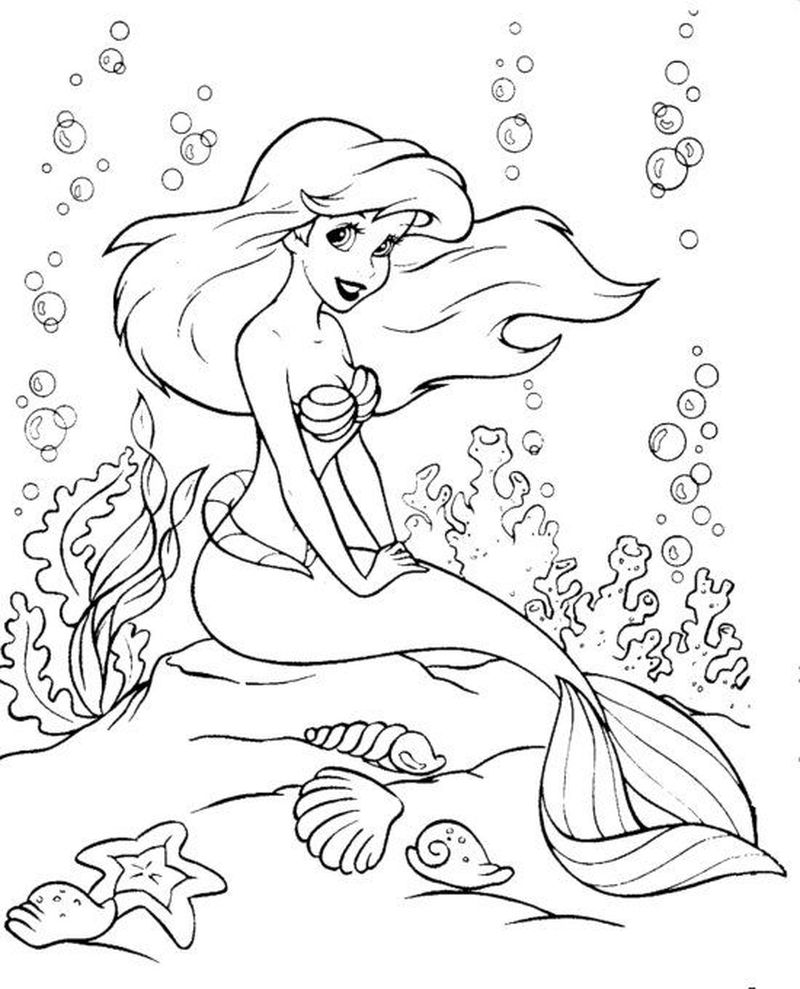 Ariel Coloring Pages For Kids