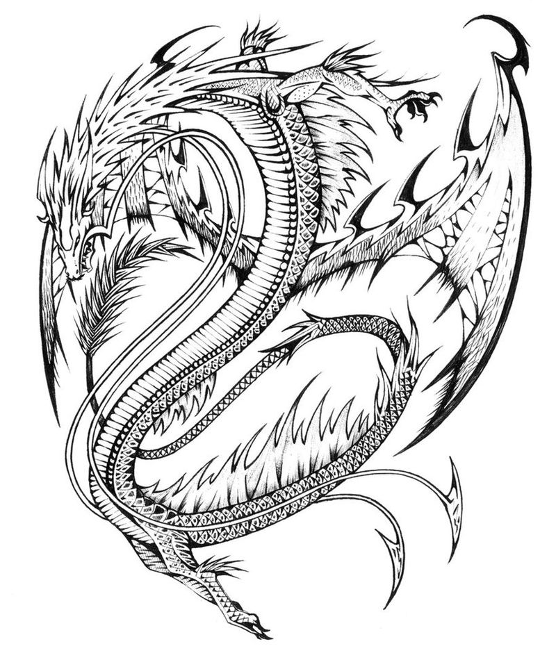 Asian Dragon Coloring Page