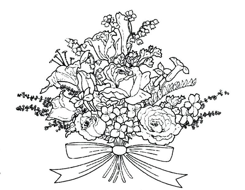 Ballerina With Flowers Coloring Pages