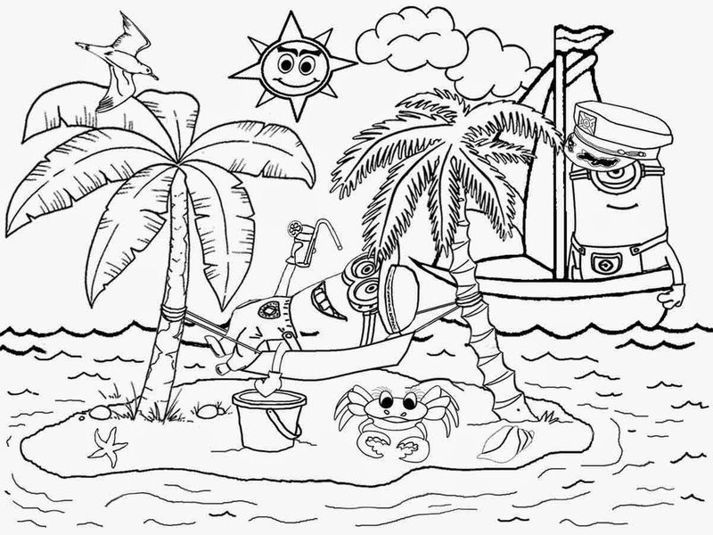Beach Coloring Book Pages