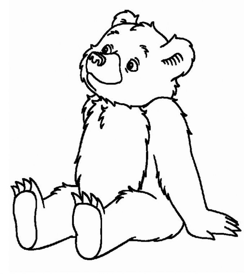 Bear And Balloons Coloring Page
