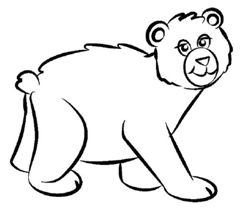 Bear And Flower Coloring Page