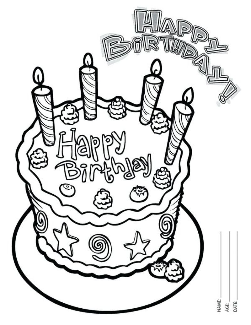 Birthday Cake And Candles Coloring Page