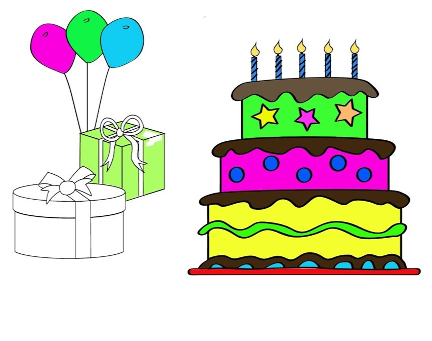 Birthday Cake Black And White Coloring Page