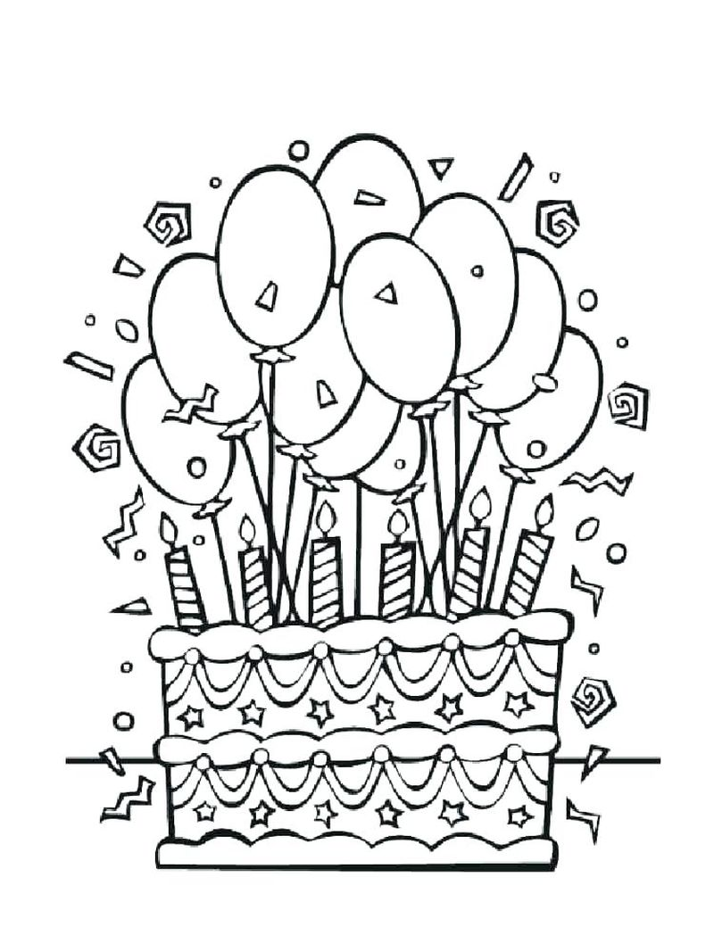 Birthday Cake Coloring Book Page 1