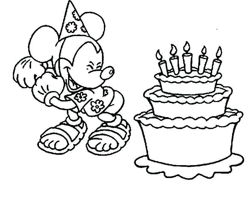 Birthday Cake Coloring Page 1