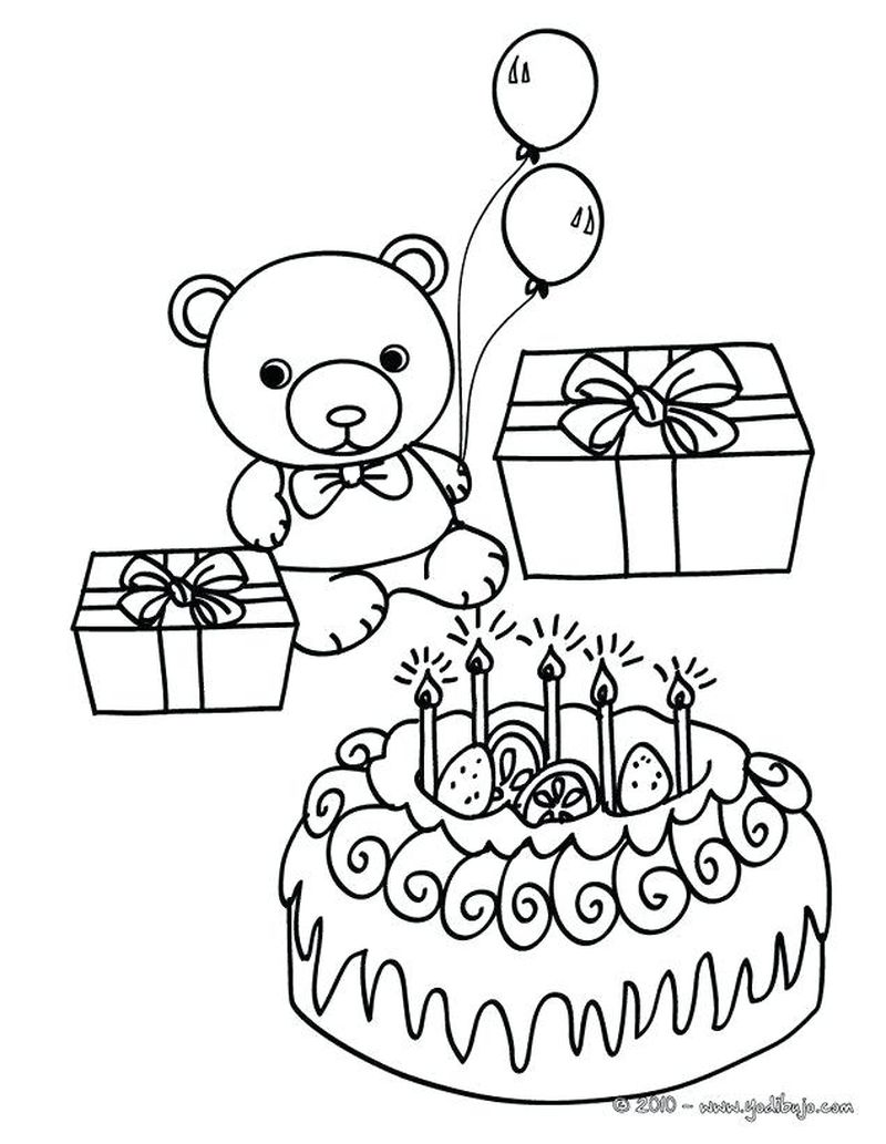 Birthday Cake Coloring Page 4 Candles