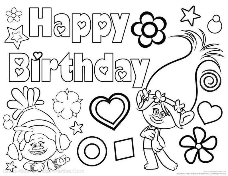 Birthday Cake Coloring Page Free
