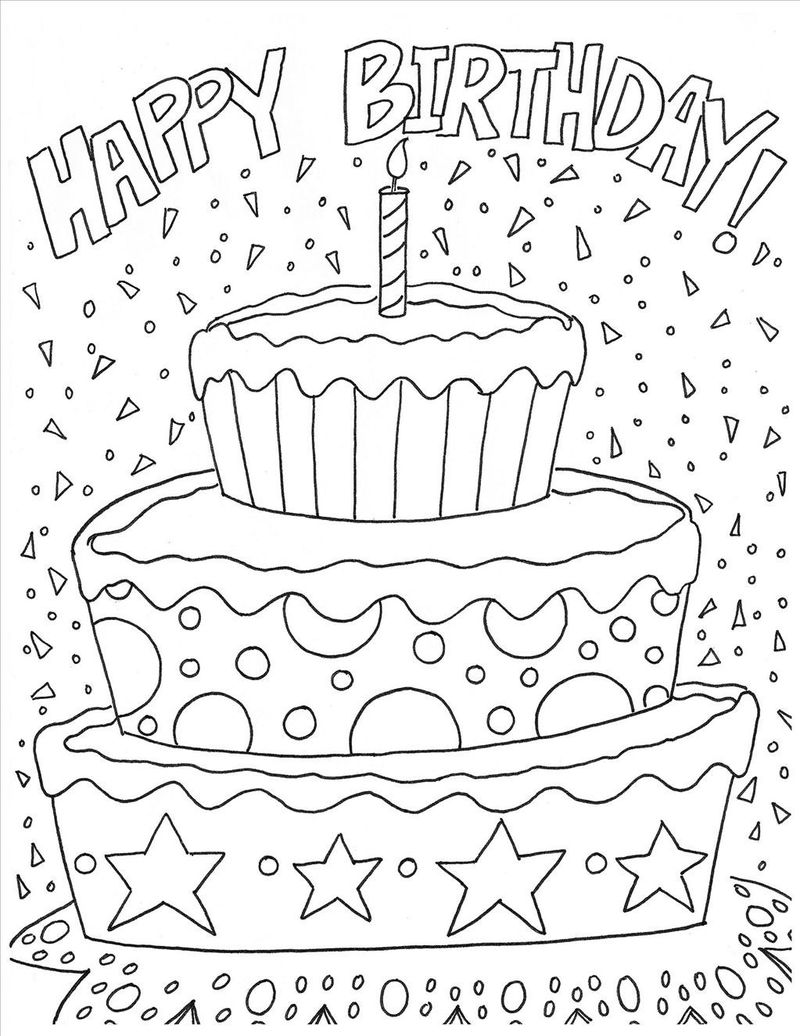 Birthday Cake Coloring Page With No Candles 1