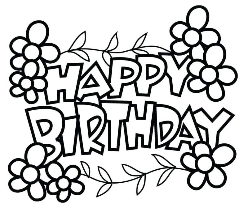 Birthday Coloring Page For Girl