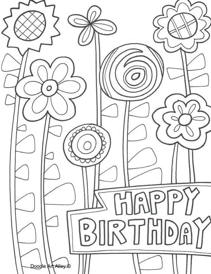 Birthday Colouring Pages Free