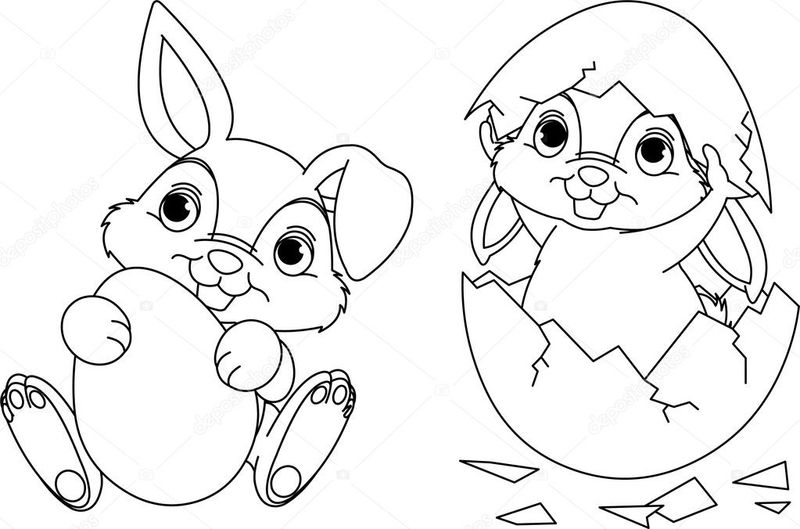 Black And White Easter Bunny Coloring Pages