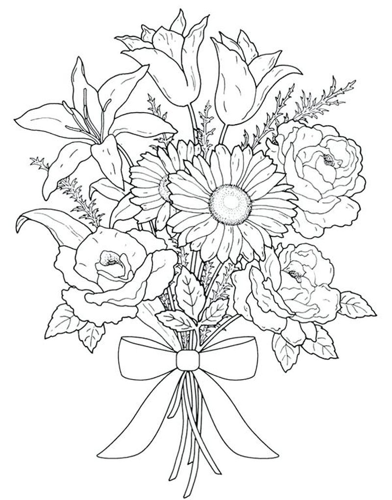 Bunch Of Flowers Coloring Pages