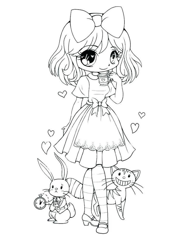 Cat Girl Anime Coloring Pages