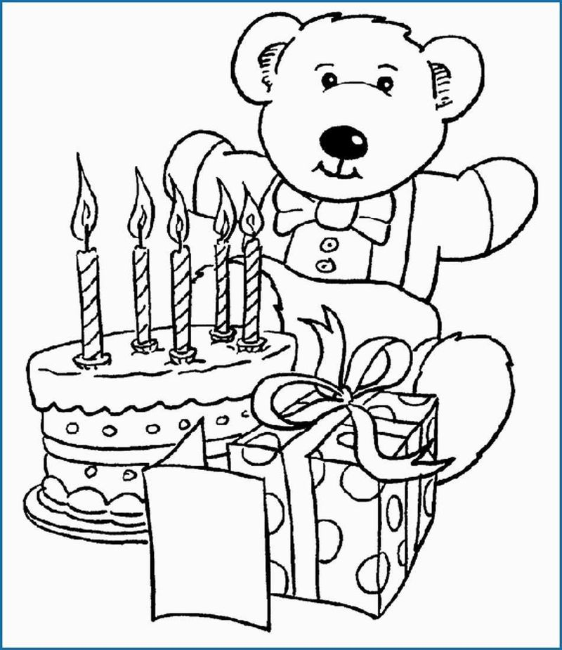 Cat Happy Birthday Coloring Page