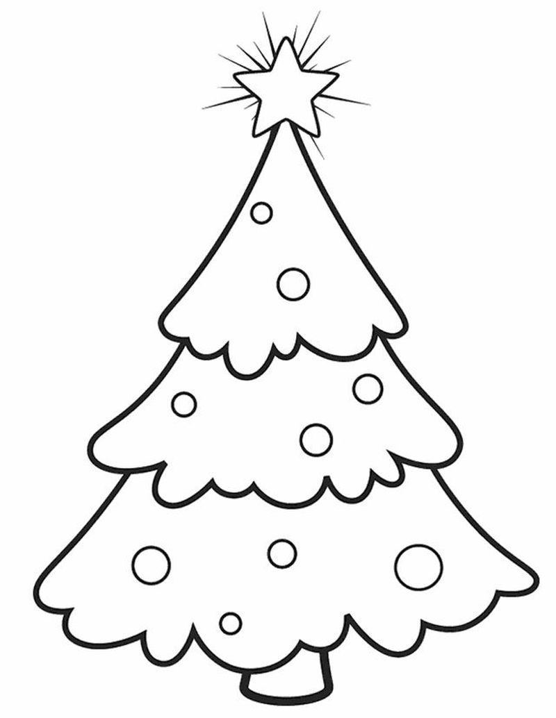 Christmas Coloring Pages Realistic Tree With Ornan