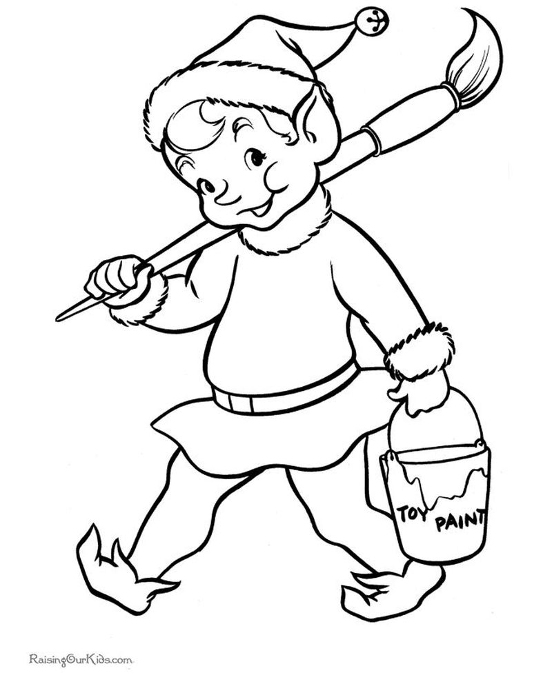 Christmas Elf Coloring Pages For Adults