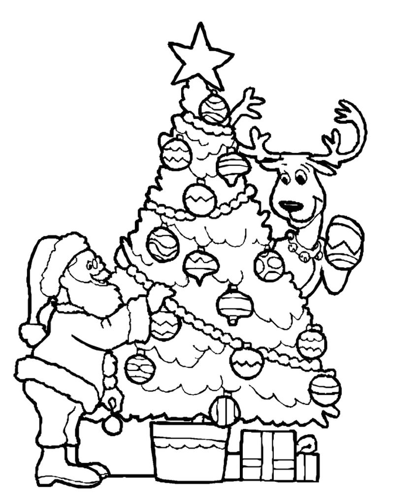 Christmas Present And Tree Coloring Pages