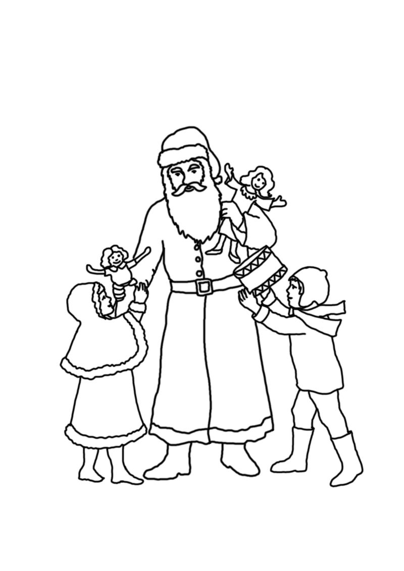 Christmas Santa Claus And Christmas Tree Coloring Pages For Kids