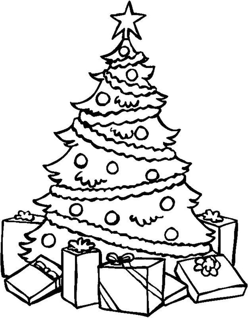 Christmas Tree And Elf Coloring Pages Printable