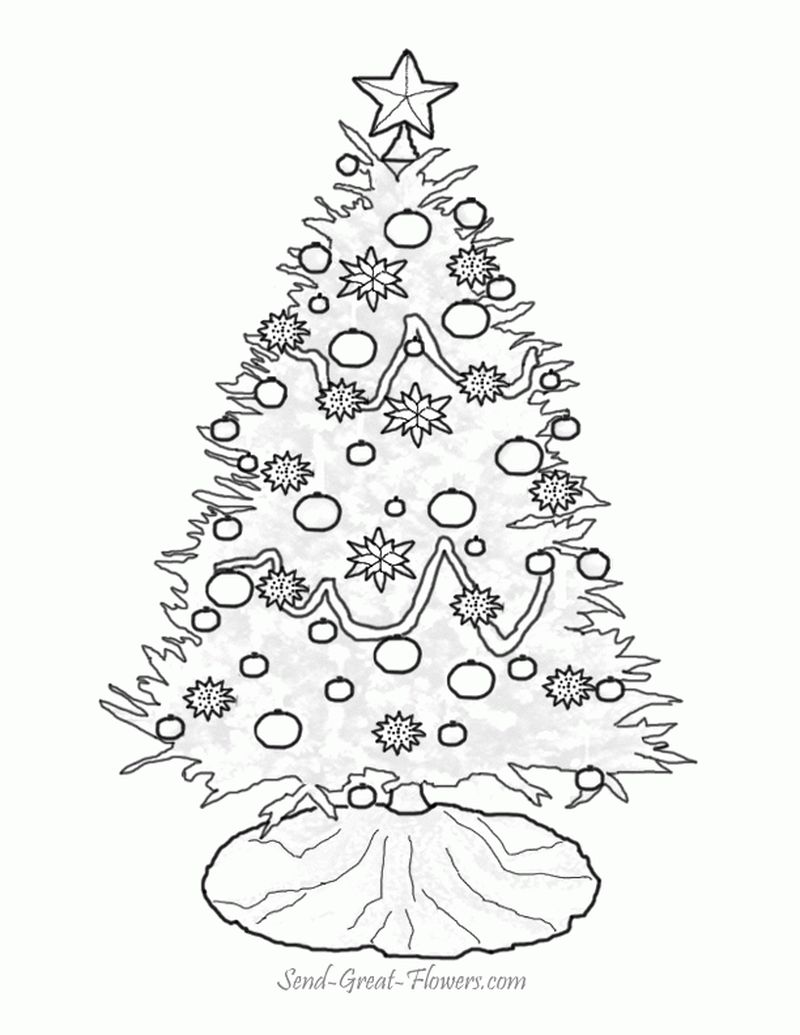 Christmas Tree And Santa Claus Printable Coloring Pages