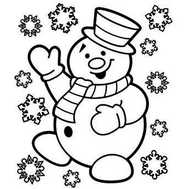 Christmas Tree And Snowman Coloring Pages 1