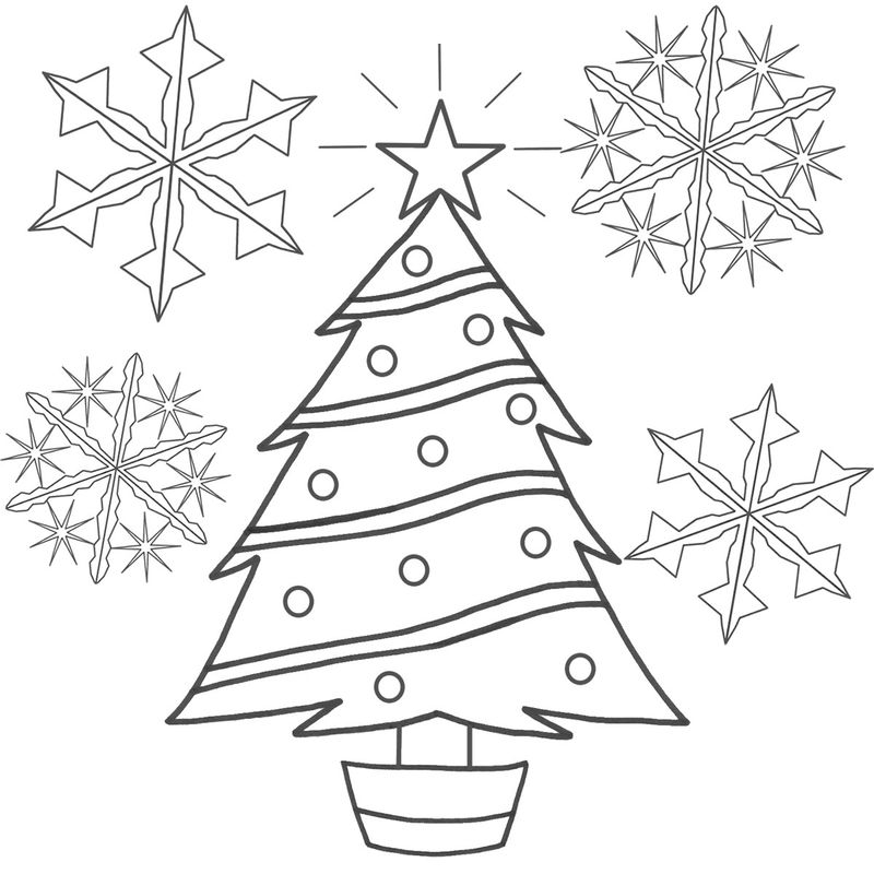 Christmas Tree Coloring Book Pages