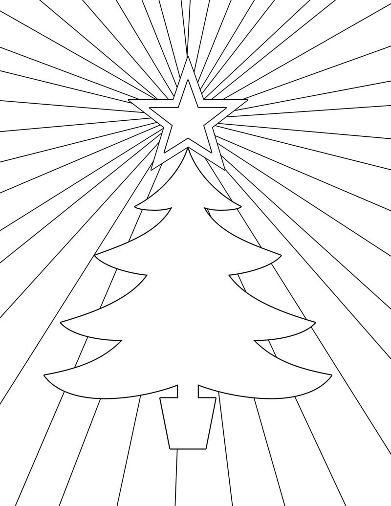 Christmas Tree Colouring Pages To Print