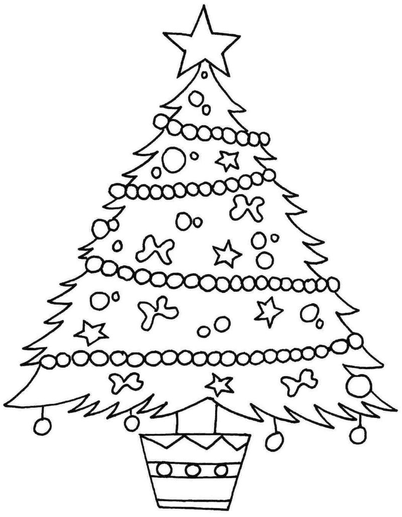 Christmas Tree Free Coloring Pages