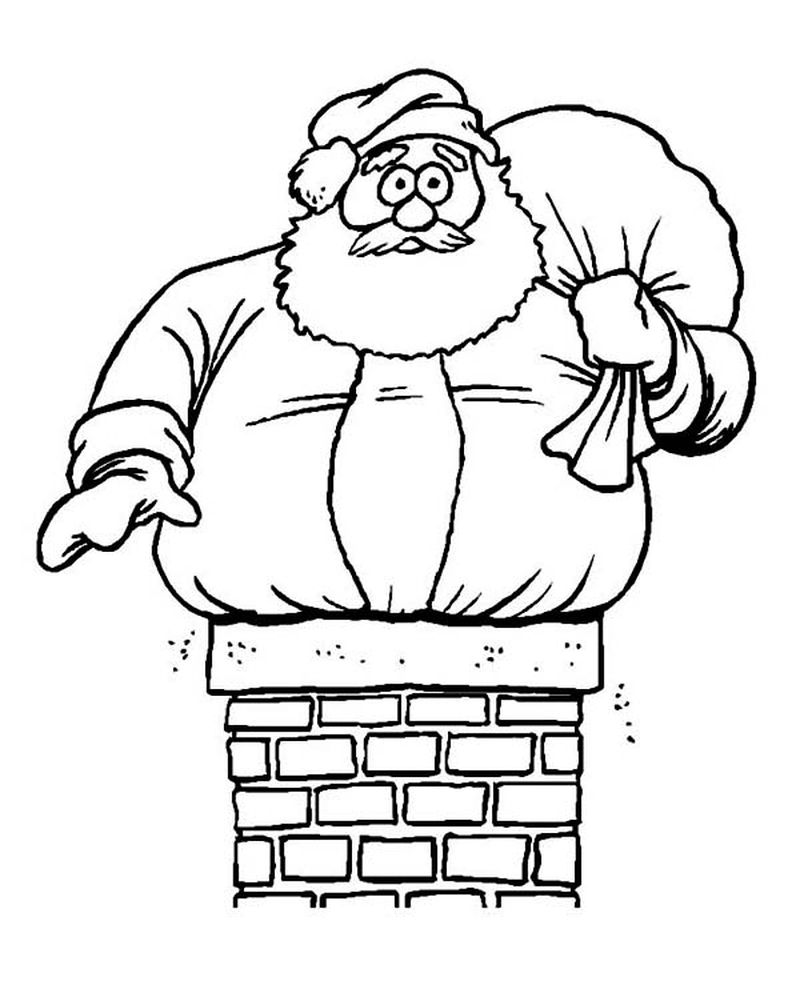 Christmas Tree With Santa Claus Coloring Page