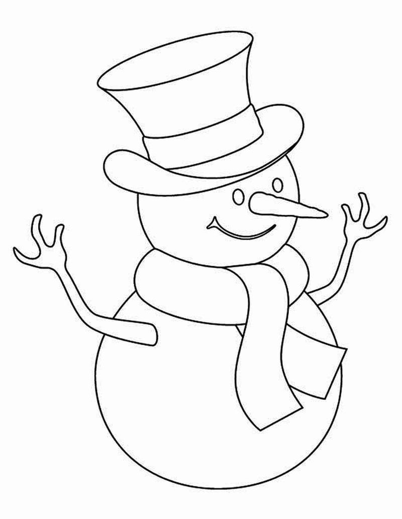 Coloring Book Pages Of Snowman