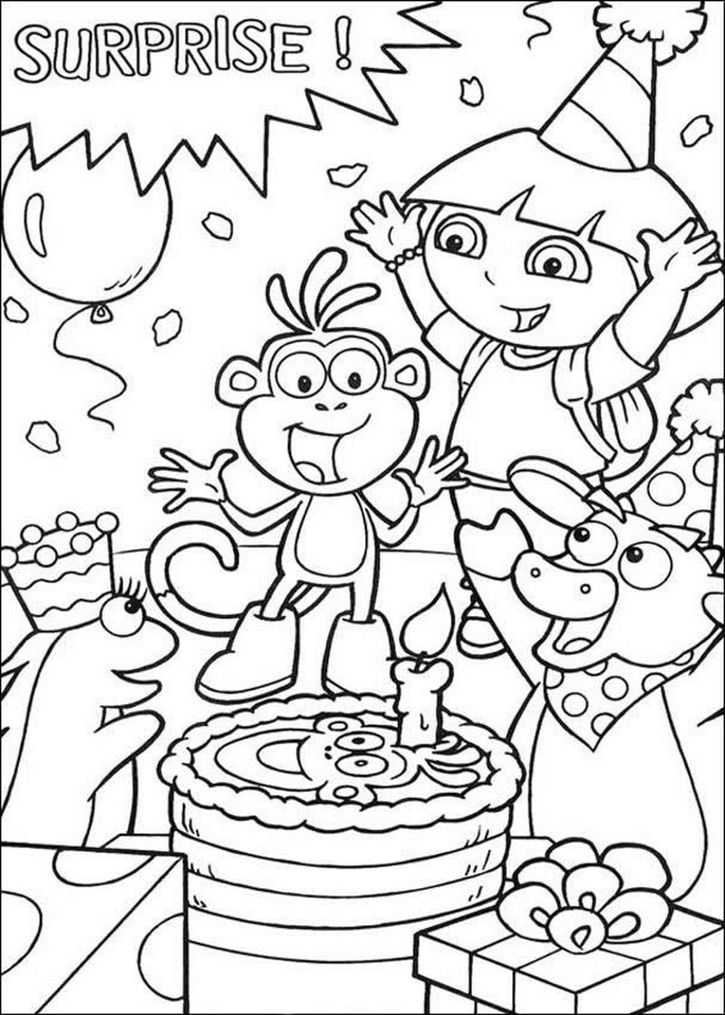 Coloring Page Happy Birthday Cake