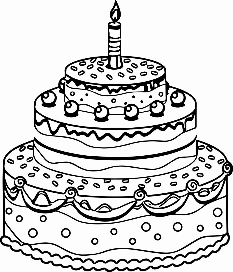 Coloring Page Of A Birthday Cake 1