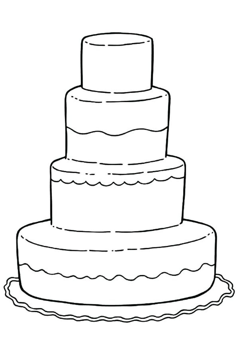 Coloring Page Of A Birthday Cake