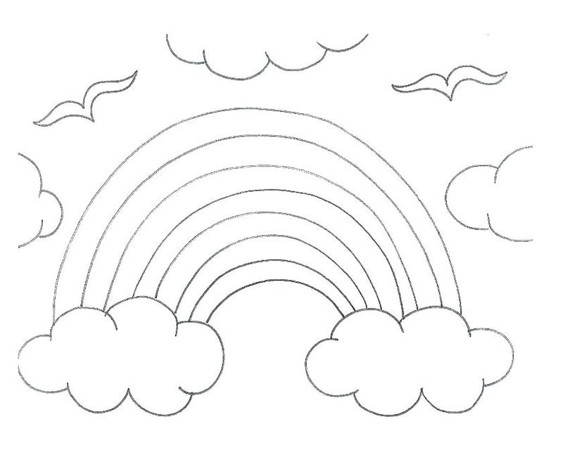 Coloring Page Of A Rainbow