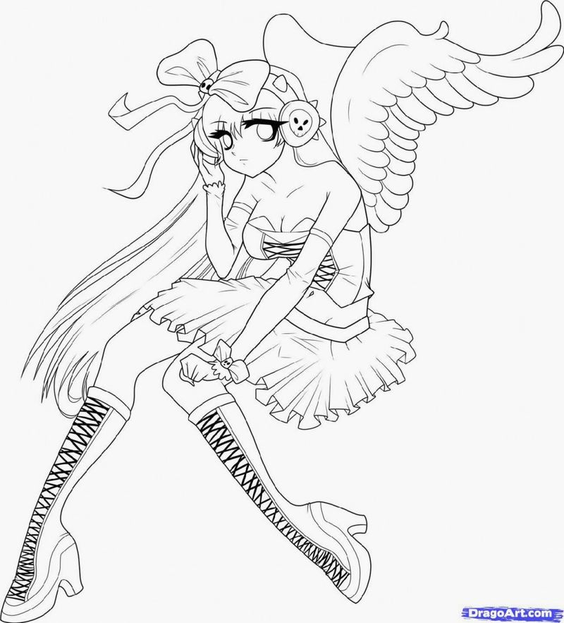 Coloring Pages Anime Fox Girl