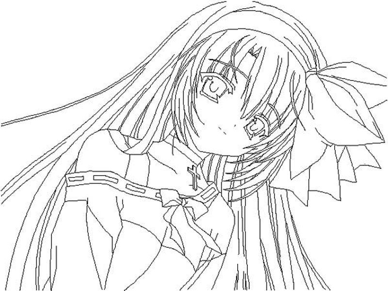 Coloring Pages Anime Girl Pretty