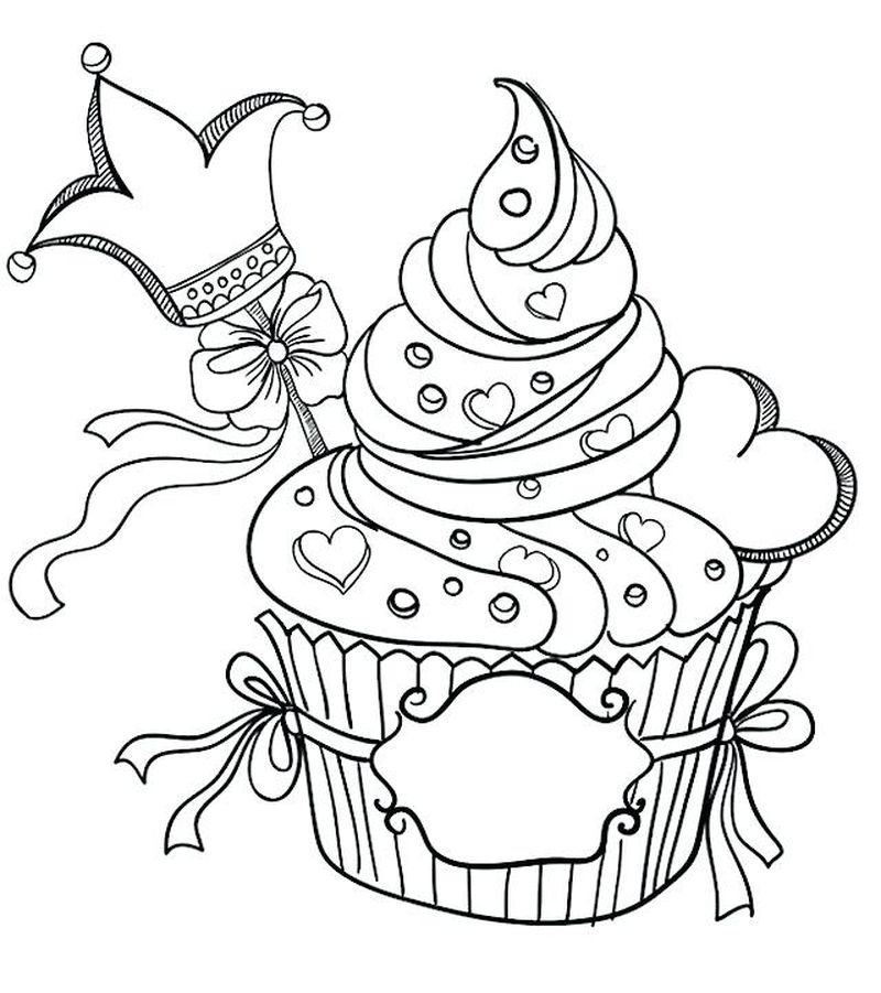 Coloring Pages For Adults With A Cupcake