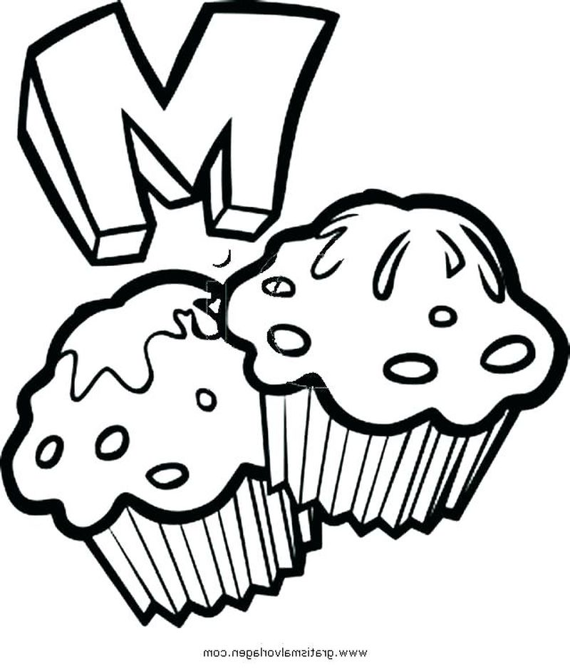 Coloring Pages Of Food Cartoon Cupcake