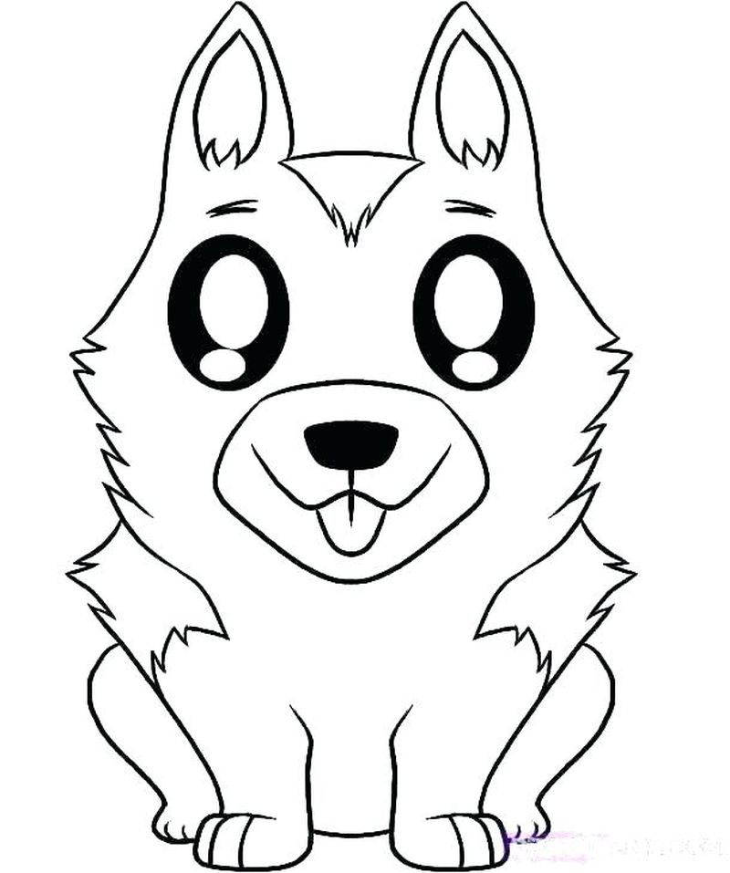 Colouring Pages Cute Dogs