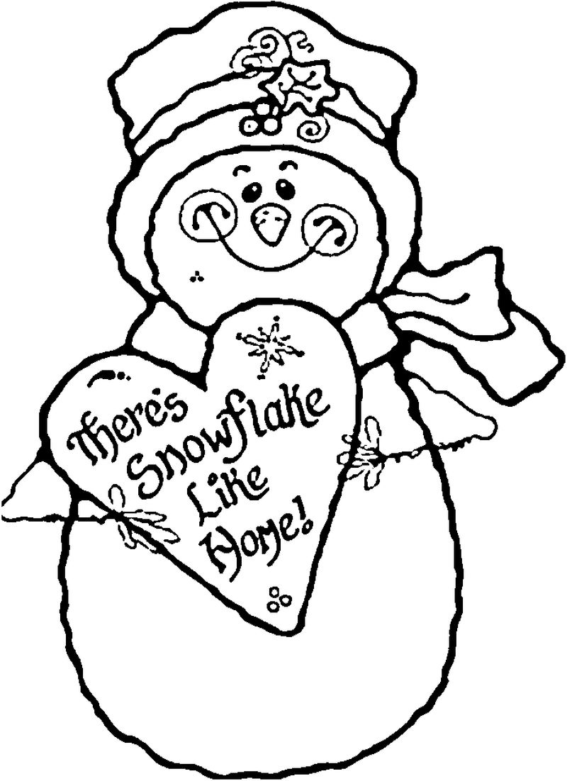 Country Snowman Coloring Pages